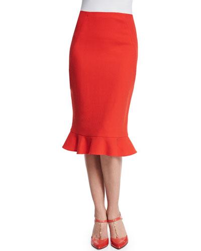 Wool Ruffle-Hem Pencil Skirt, Vermilion