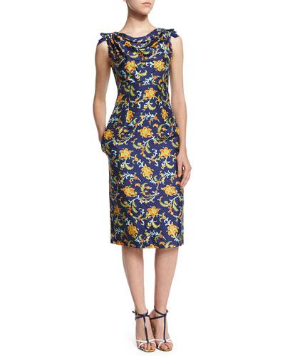 Sleeveless Cowl-Neck Printed Sheath Dress, Marine Blue
