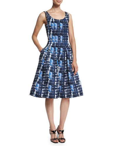 Sleeveless Watercolor-Plaid Dress, Marine Blue
