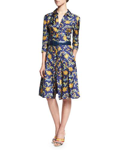 3/4-Sleeve Printed Shirtdress, Marine Blue