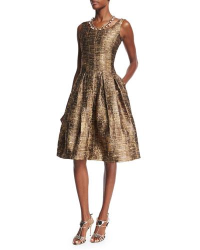 Sleeveless Scoop-Neck Metallic Matelasse Dress, Dark Gold