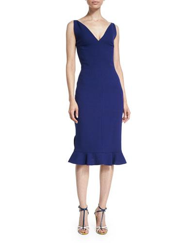 Sleeveless V-Neck Flounce-Hem Dress, Marine Blue