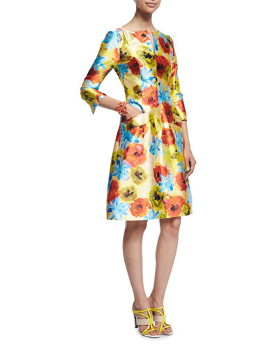Impasto Floral-Print A-Line Dress, Marigold