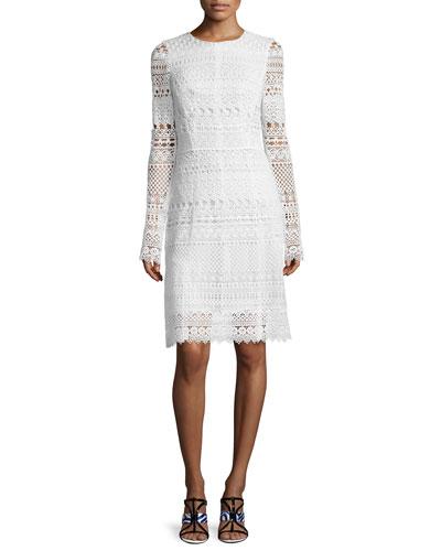 Long-Sleeve Banded-Lace Sheath Dress, White