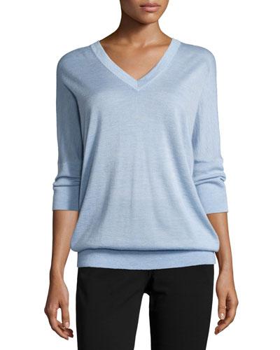 3/4-Sleeve V-Neck Sweater, Chambray