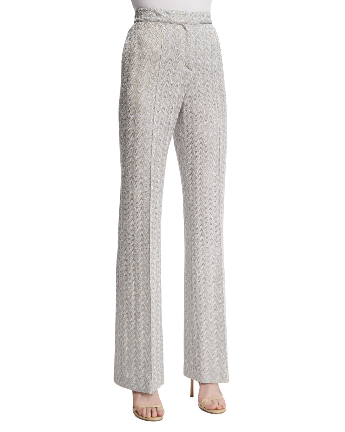 High-Waist Flare-Leg Pants, Silver Colorway