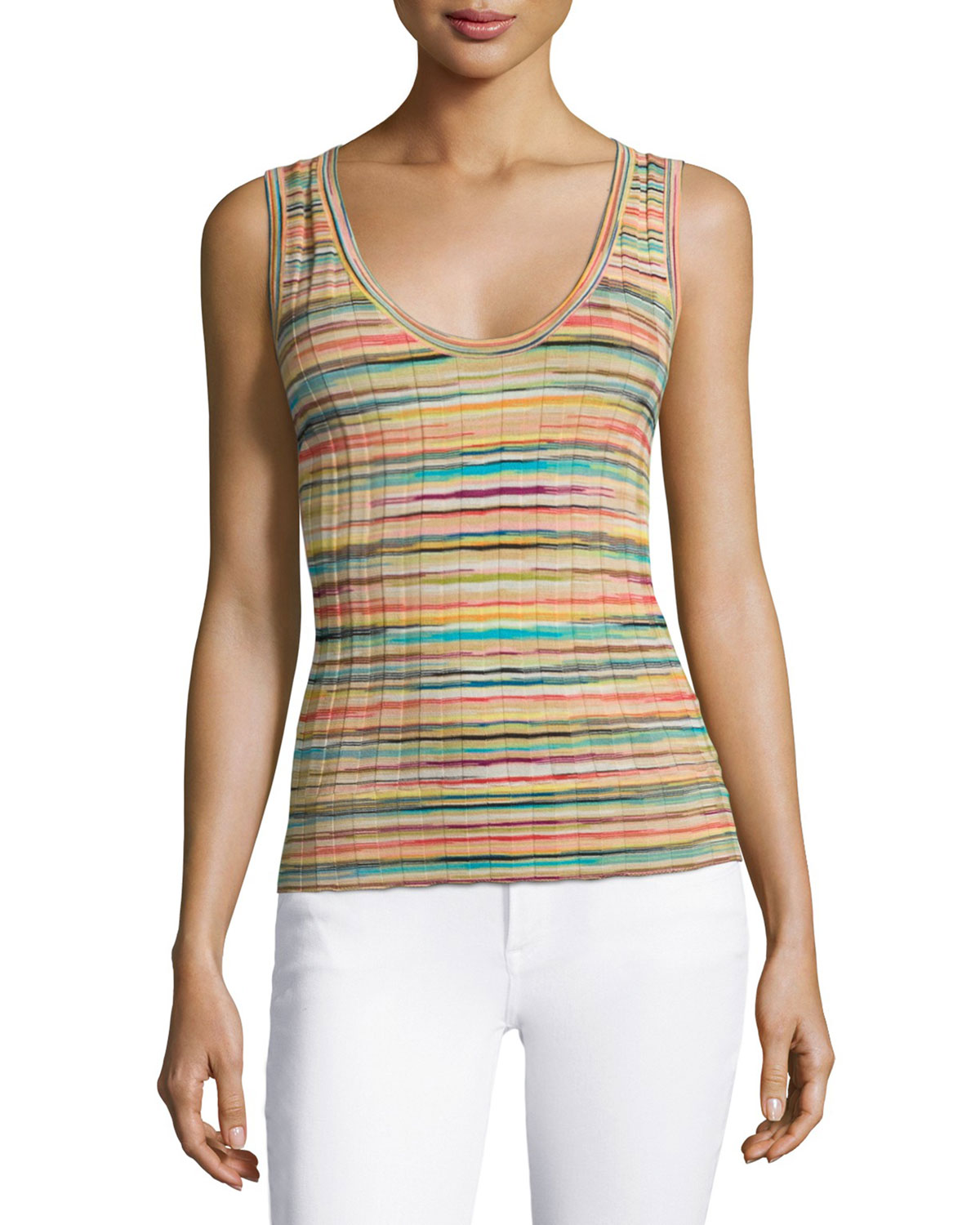 Scoop-Neck Multi-Striped Ribbed Top, Multi Colors