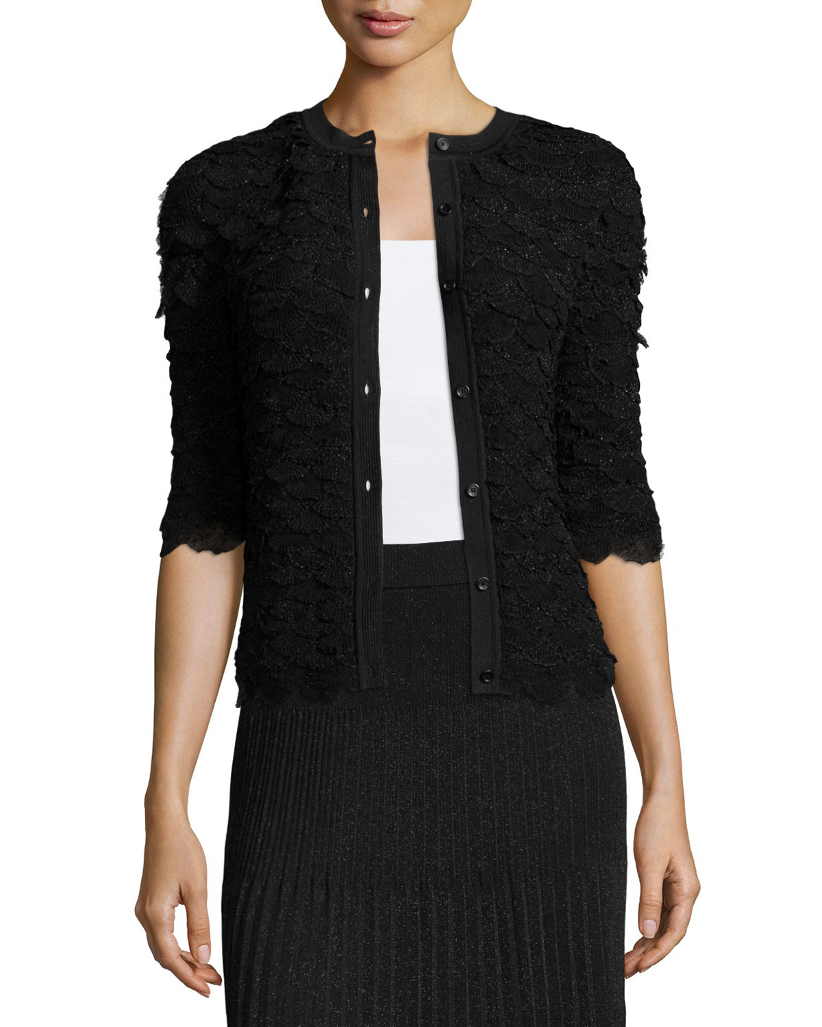 Scallop-Tiered Cardigan, Black