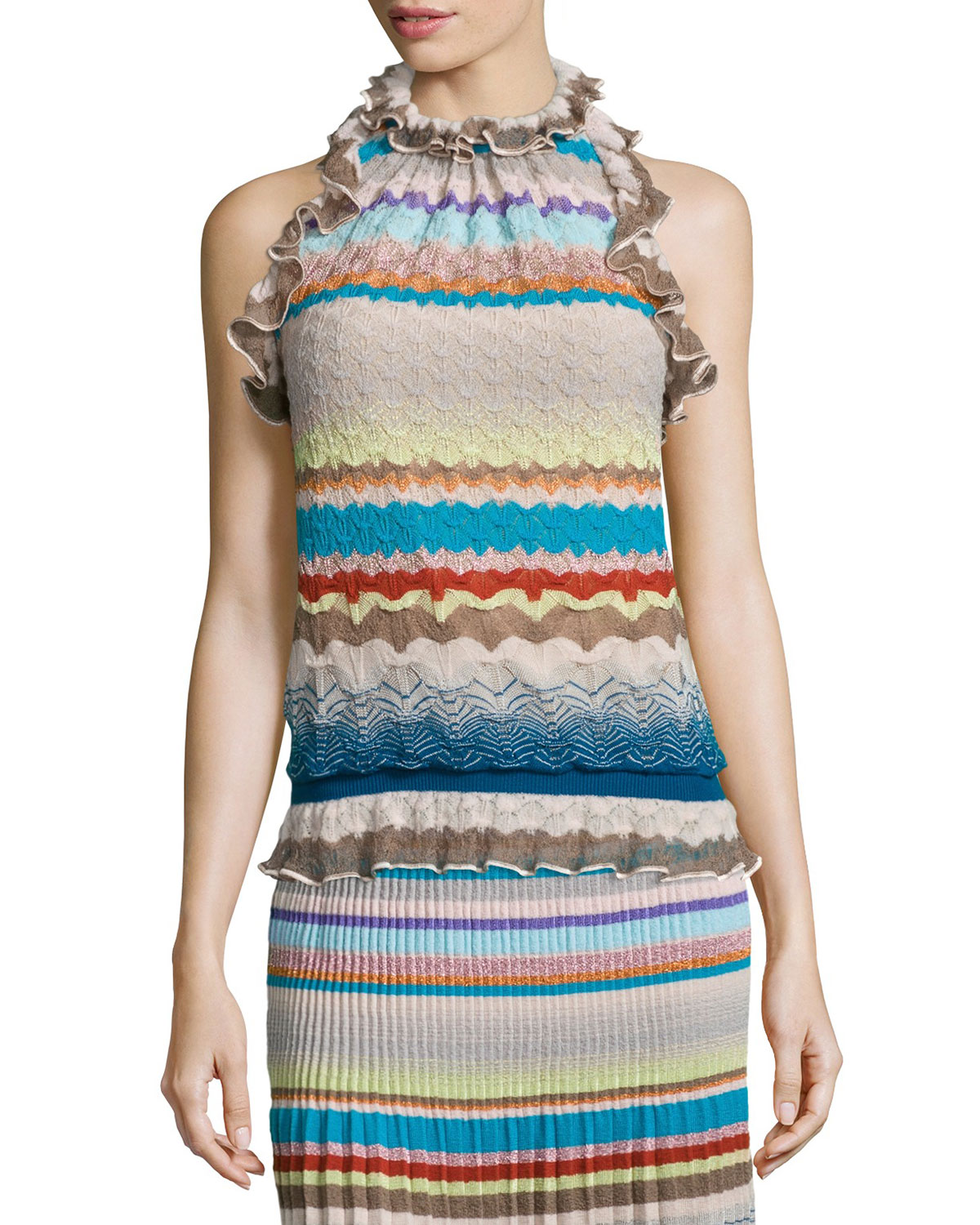 Ruffled Halter-Neck Top, Blue/Multi Colors