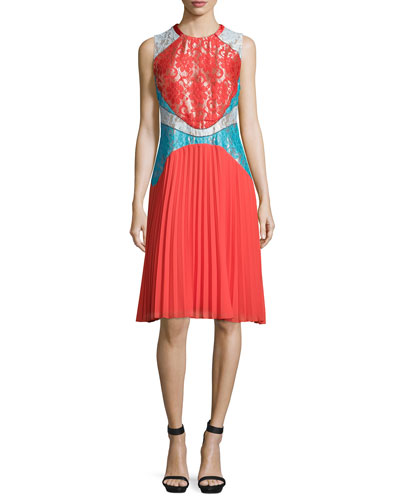 Sleeveless Pleated-Skirt Colorblock Dress, Red