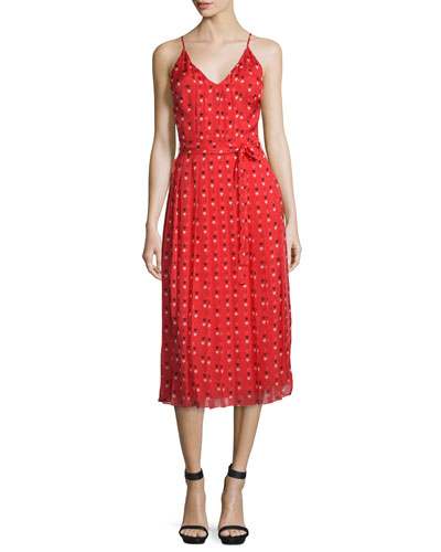 Sleeveless Heart-Print Midi Dress, Red