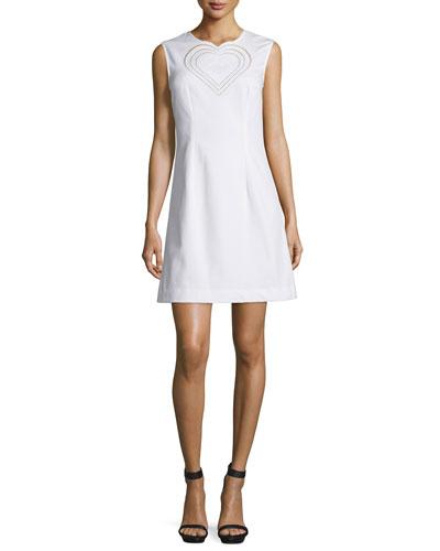 Sleeveless Heart Sheath Dress, White