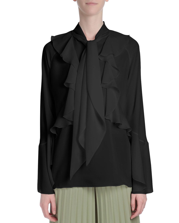 Long-Sleeve Romantic-Ruffle Blouse, Black