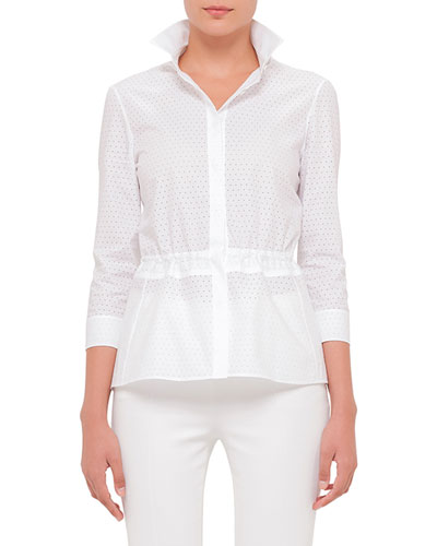3/4-Sleeve Perforated Blouse, White