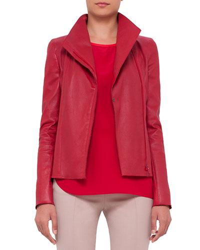 Asymmetric-Zip Leather Jacket, Cherry