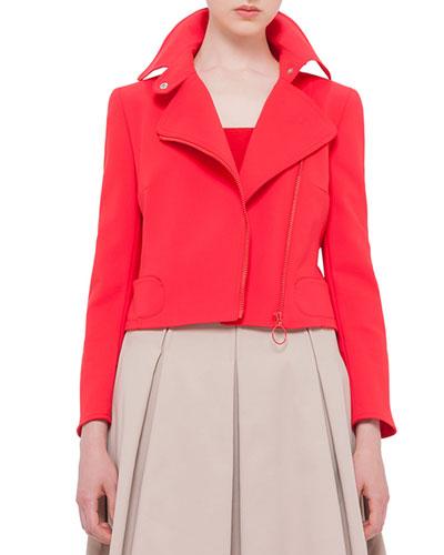 Asymmetric-Zip Moto Jacket, Sport Red