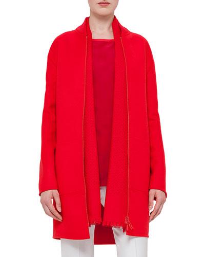Zip-Front Long-Sleeve Coat, Sport Red