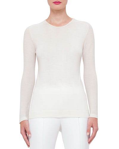 Long-Sleeve Cashmere Pullover Sweater, Anemone