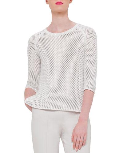 Half-Sleeve Crochet Pullover, White