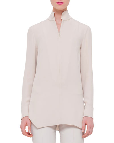 Long-Sleeve Quarter-Zip Tunic, Ranunculus