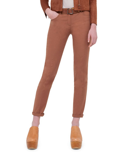 Magda Slim-Leg Ankle Pants, Carmel