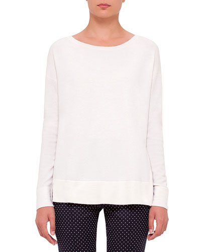 Round-Neck Side-Zip Sweater, Cream