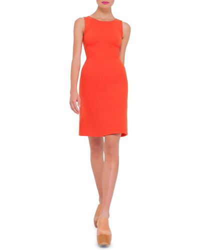 Sleeveless Round-Neck Wool Sheath Dress, Zinnia