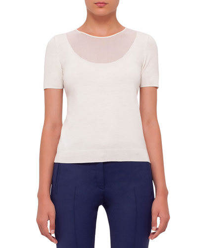 Short-Sleeve Sheer-Neck Sweater Top, Cream
