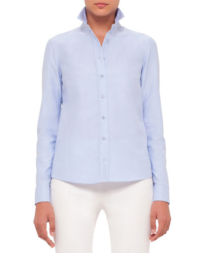 Button-Front Embroidered-Back Blouse, Sky Blue