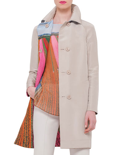 Reversible Button-Front Long Coat, Ranunculus/Multi Colors
