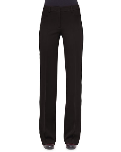 Mikka Mid-Rise Wide-Leg Pants, Black