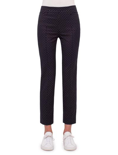 Franca Polka-Dot Ankle Pants, Black/Cream