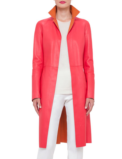 Reversible Leather Long Coat, Rose/Zinnia