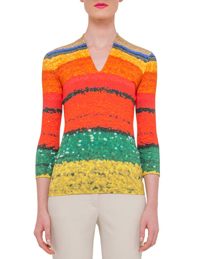 3/4-Sleeve Printed T-Shirt, Multi Colors