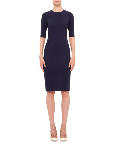 Short-Sleeve Jewel-Neck Sheath Dress, Indigo