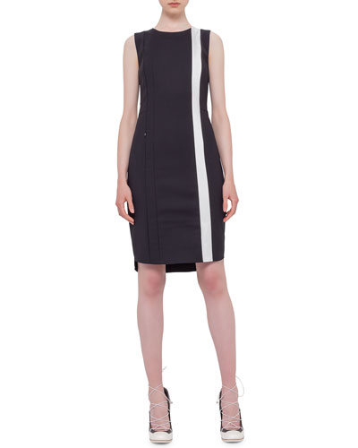 Sleeveless Contrast-Stripe Sheath Dress, Black/Cream