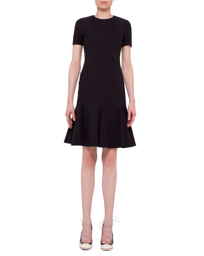 Short-Sleeve Jewel-Neck Flounce Dress, Black