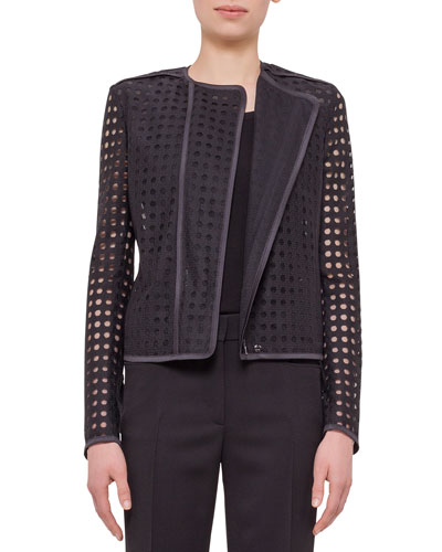 Circle-Embroidered Long-Sleeve Jacket, Black