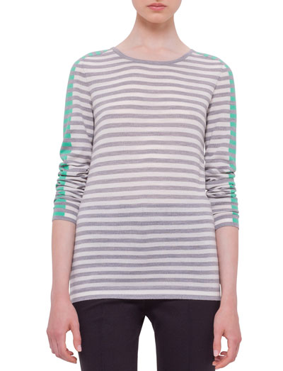 Long-Sleeve Striped Colorblock Sweater, Silver/Gray/Spearmint