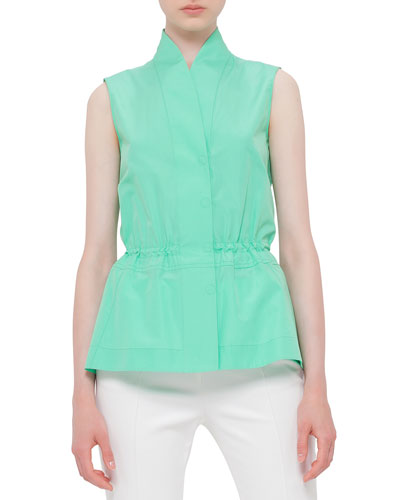 Sleeveless Drawstring-Waist Blouse, Spearmint