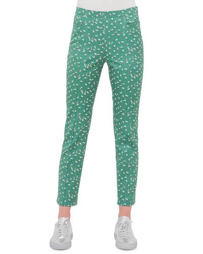 Franca Tumbling-Print Ankle Pants, Grass/Cream