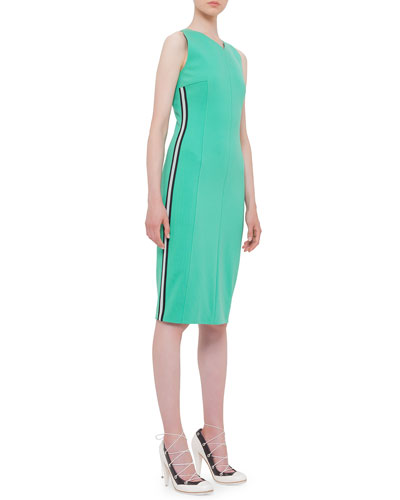 Sleeveless Mesh Side-Stripe Dress, Spearmint