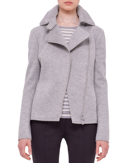Asymmetric-Zip Moto Jacket, Silver