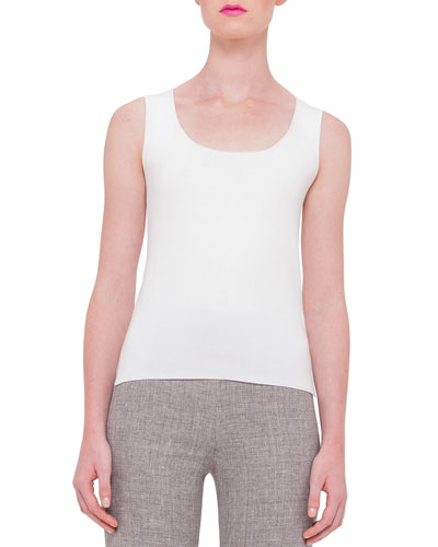 Scoop-Neck Fitted Tank, Off White