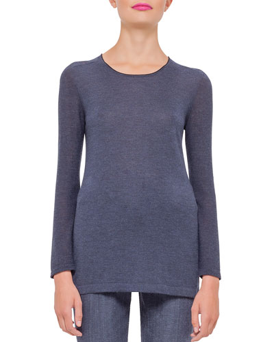 Cashmere Long-Sleeve Tunic, Indigo