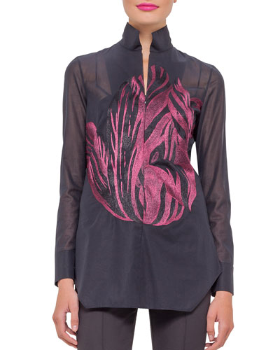 Long-Sleeve Tunic Blouse, Dahlia/Black