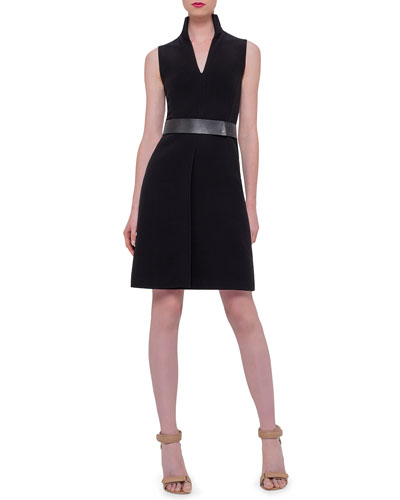 Sleeveless Belted A-Line Dress, Black