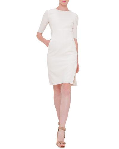 Half-Sleeve Jewel-Neck Sheath Dress, Anemone