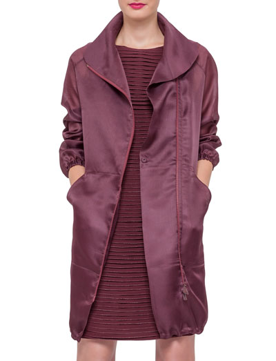 Long-Sleeve Zip-Front Parka, Dahlia