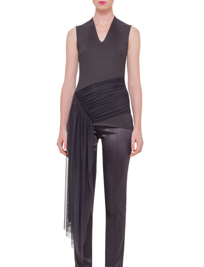 Sleeveless Draped-Waist Tee, Black
